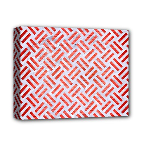 Woven2 White Marble & Red Brushed Metal (r) Deluxe Canvas 14  X 11  by trendistuff