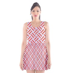 Woven2 White Marble & Red Brushed Metal (r) Scoop Neck Skater Dress