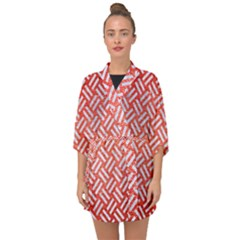 Woven2 White Marble & Red Brushed Metal Half Sleeve Chiffon Kimono