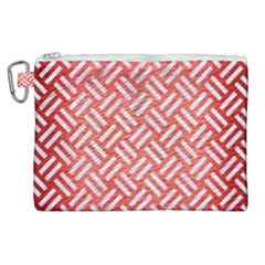 Woven2 White Marble & Red Brushed Metal Canvas Cosmetic Bag (xl)