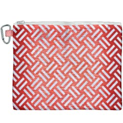 Woven2 White Marble & Red Brushed Metal Canvas Cosmetic Bag (xxxl)