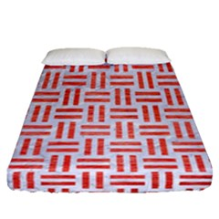 Woven1 White Marble & Red Brushed Metal (r) Fitted Sheet (queen Size) by trendistuff