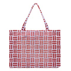 Woven1 White Marble & Red Brushed Metal (r) Medium Tote Bag by trendistuff