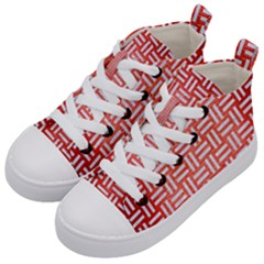 Woven1 White Marble & Red Brushed Metal Kid s Mid Top Canvas Sneakers by trendistuff