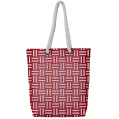 Woven1 White Marble & Red Brushed Metal Full Print Rope Handle Tote (small) by trendistuff