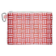Woven1 White Marble & Red Brushed Metal Canvas Cosmetic Bag (xl)