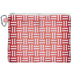 Woven1 White Marble & Red Brushed Metal Canvas Cosmetic Bag (xxl) by trendistuff