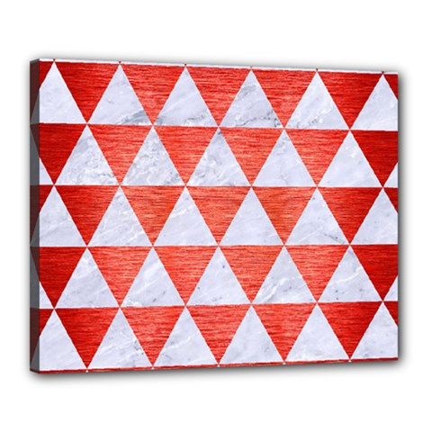Triangle3 White Marble & Red Brushed Metal Canvas 20  X 16  by trendistuff