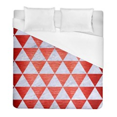 Triangle3 White Marble & Red Brushed Metal Duvet Cover (full/ Double Size) by trendistuff