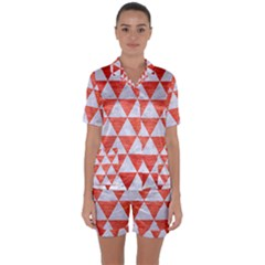Triangle3 White Marble & Red Brushed Metal Satin Short Sleeve Pyjamas Set by trendistuff