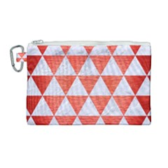 Triangle3 White Marble & Red Brushed Metal Canvas Cosmetic Bag (large) by trendistuff
