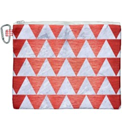 Triangle2 White Marble & Red Brushed Metal Canvas Cosmetic Bag (xxxl) by trendistuff