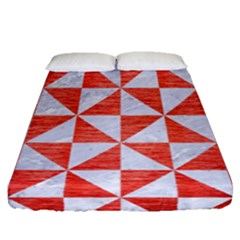 Triangle1 White Marble & Red Brushed Metal Fitted Sheet (queen Size) by trendistuff