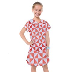 Triangle1 White Marble & Red Brushed Metal Kids  Drop Waist Dress