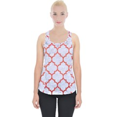 Tile1 White Marble & Red Brushed Metal (r) Piece Up Tank Top
