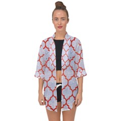Tile1 White Marble & Red Brushed Metal (r) Open Front Chiffon Kimono