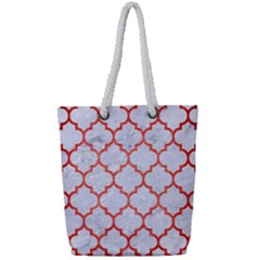 Tile1 White Marble & Red Brushed Metal (r) Full Print Rope Handle Tote (small) by trendistuff