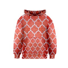 Tile1 White Marble & Red Brushed Metal Kids  Pullover Hoodie