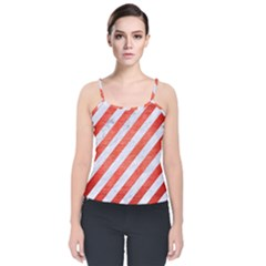 Stripes3 White Marble & Red Brushed Metal (r) Velvet Spaghetti Strap Top by trendistuff