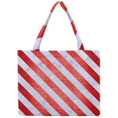 Stripes3 White Marble & Red Brushed Metal Mini Tote Bag by trendistuff