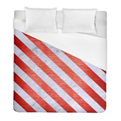 Stripes3 White Marble & Red Brushed Metal Duvet Cover (full/ Double Size) by trendistuff