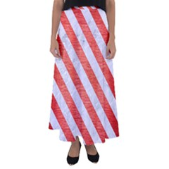Stripes3 White Marble & Red Brushed Metal Flared Maxi Skirt