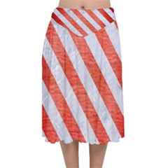 Stripes3 White Marble & Red Brushed Metal Velvet Flared Midi Skirt
