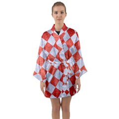 Square2 White Marble & Red Brushed Metal Long Sleeve Kimono Robe