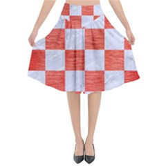 Square1 White Marble & Red Brushed Metal Flared Midi Skirt