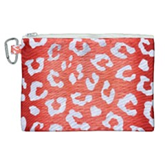 Skin5 White Marble & Red Brushed Metal (r) Canvas Cosmetic Bag (xl)