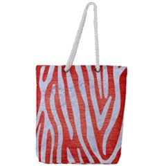 Skin4 White Marble & Red Brushed Metal (r) Full Print Rope Handle Tote (large) by trendistuff
