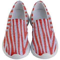 Skin4 White Marble & Red Brushed Metal (r) Kid s Lightweight Slip Ons