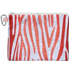 Skin4 White Marble & Red Brushed Metal Canvas Cosmetic Bag (xxl) by trendistuff