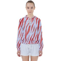 Skin3 White Marble & Red Brushed Metal (r) Women s Tie Up Sweat by trendistuff
