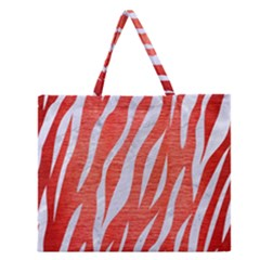 Skin3 White Marble & Red Brushed Metal Zipper Large Tote Bag by trendistuff