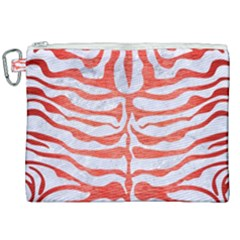 Skin2 White Marble & Red Brushed Metal (r) Canvas Cosmetic Bag (xxl) by trendistuff