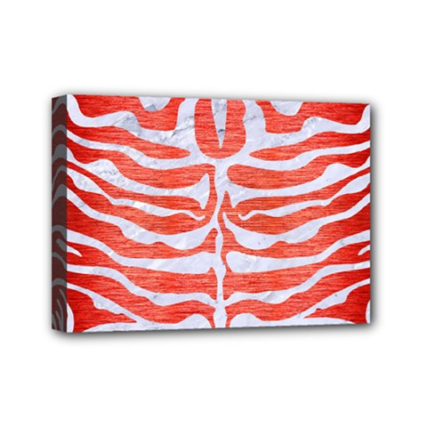 Skin2 White Marble & Red Brushed Metal Mini Canvas 7  X 5  by trendistuff