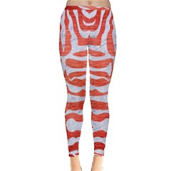 Skin2 White Marble & Red Brushed Metal Inside Out Leggings