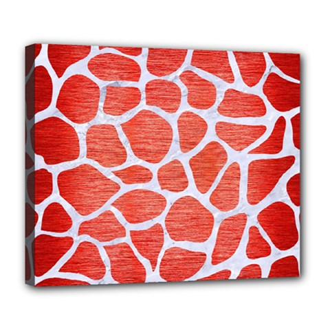 Skin1 White Marble & Red Brushed Metal (r) Deluxe Canvas 24  X 20