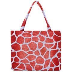 Skin1 White Marble & Red Brushed Metal (r) Mini Tote Bag by trendistuff