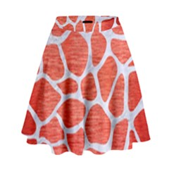 Skin1 White Marble & Red Brushed Metal (r) High Waist Skirt by trendistuff