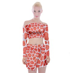 Skin1 White Marble & Red Brushed Metal (r) Off Shoulder Top With Mini Skirt Set