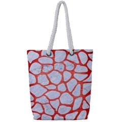 Skin1 White Marble & Red Brushed Metal Full Print Rope Handle Tote (small) by trendistuff