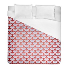 Scales3 White Marble & Red Brushed Metal (r) Duvet Cover (full/ Double Size)