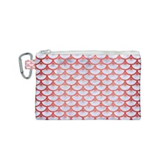 Scales3 White Marble & Red Brushed Metal (r) Canvas Cosmetic Bag (small) by trendistuff