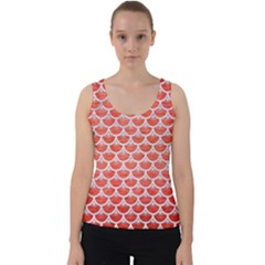 Scales3 White Marble & Red Brushed Metal Velvet Tank Top by trendistuff
