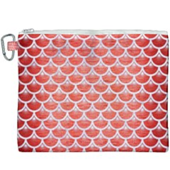 Scales3 White Marble & Red Brushed Metal Canvas Cosmetic Bag (xxxl) by trendistuff