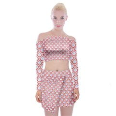 Scales2 White Marble & Red Brushed Metal (r) Off Shoulder Top With Mini Skirt Set