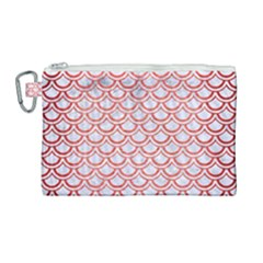 Scales2 White Marble & Red Brushed Metal (r) Canvas Cosmetic Bag (large) by trendistuff