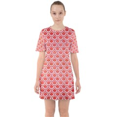 Scales2 White Marble & Red Brushed Metal Sixties Short Sleeve Mini Dress